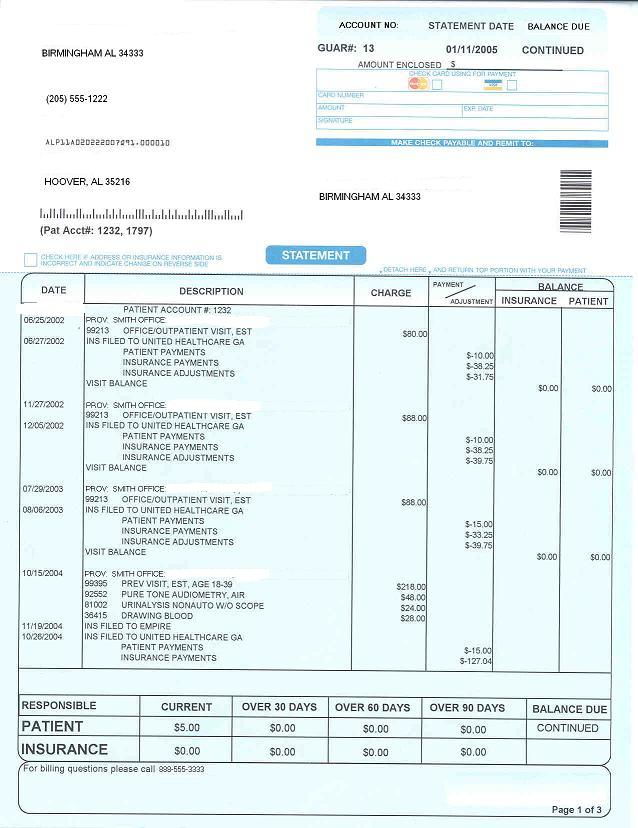 Click to see a larger view of the sample billing statement.